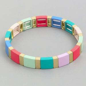 RED MULTI TILE BLOCK BEAD STRETCH BRACELET